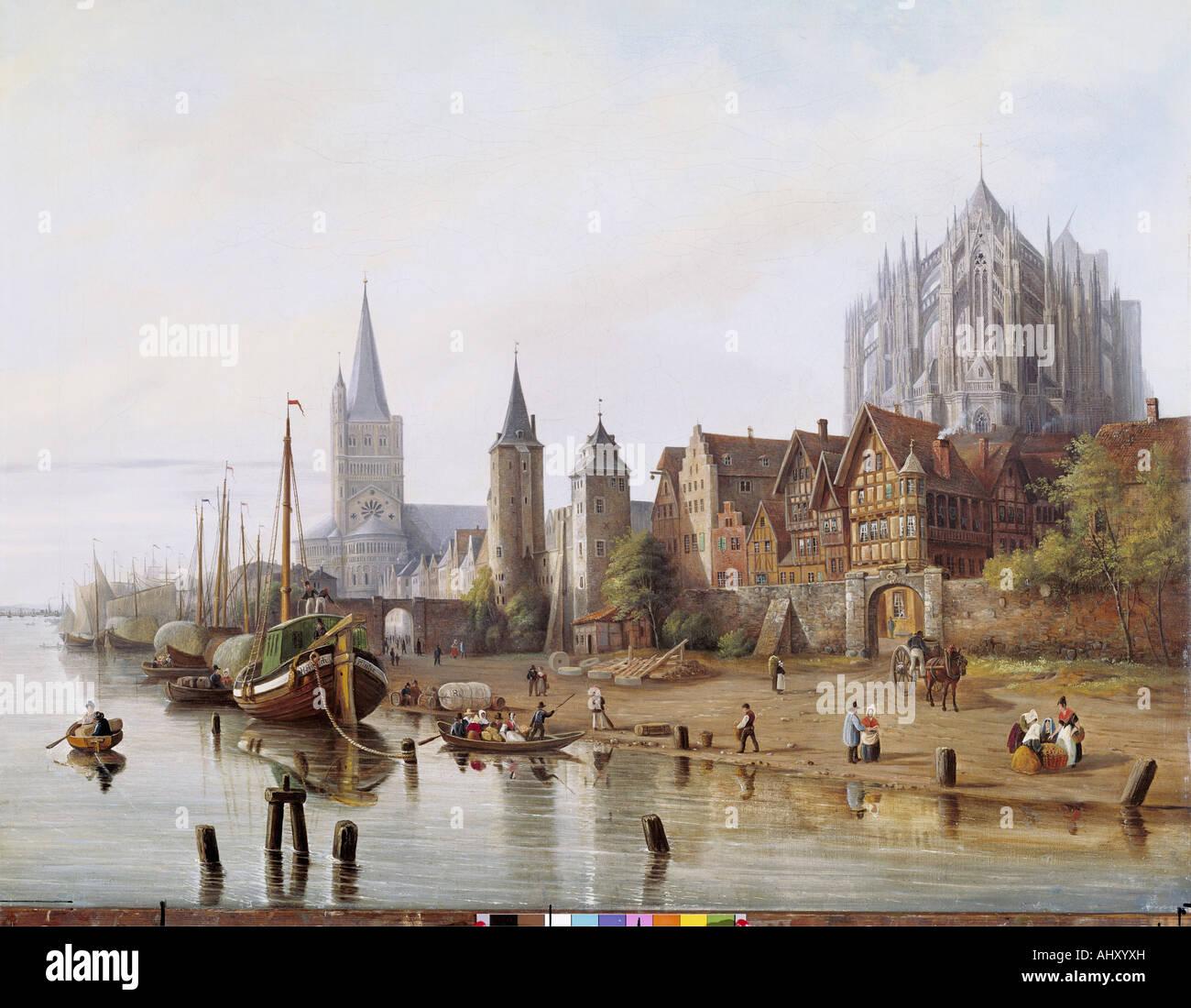 """Belle Arti, Hintze, Johann Heinrich, (1800 - 1862), pittura, 'Rheinufer bei Köln' ('banca Immagini Stock"