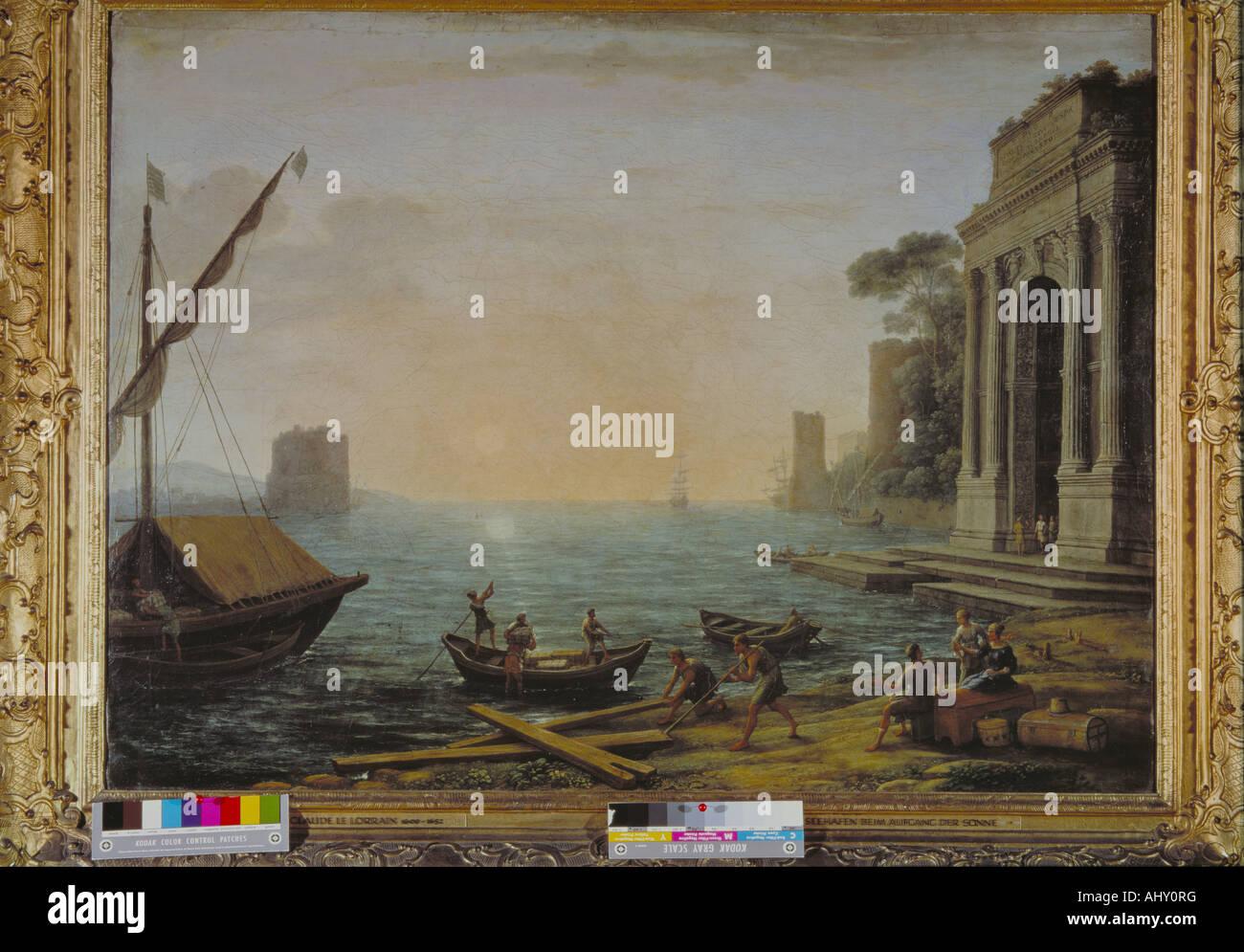 """""""Belle Arti, Lorrain Claude, (1600 - 1682), la pittura """"porto ea a sunrise"""", 1674, olio su tela, 72 x 96 cm, Vecchia Foto Stock"""