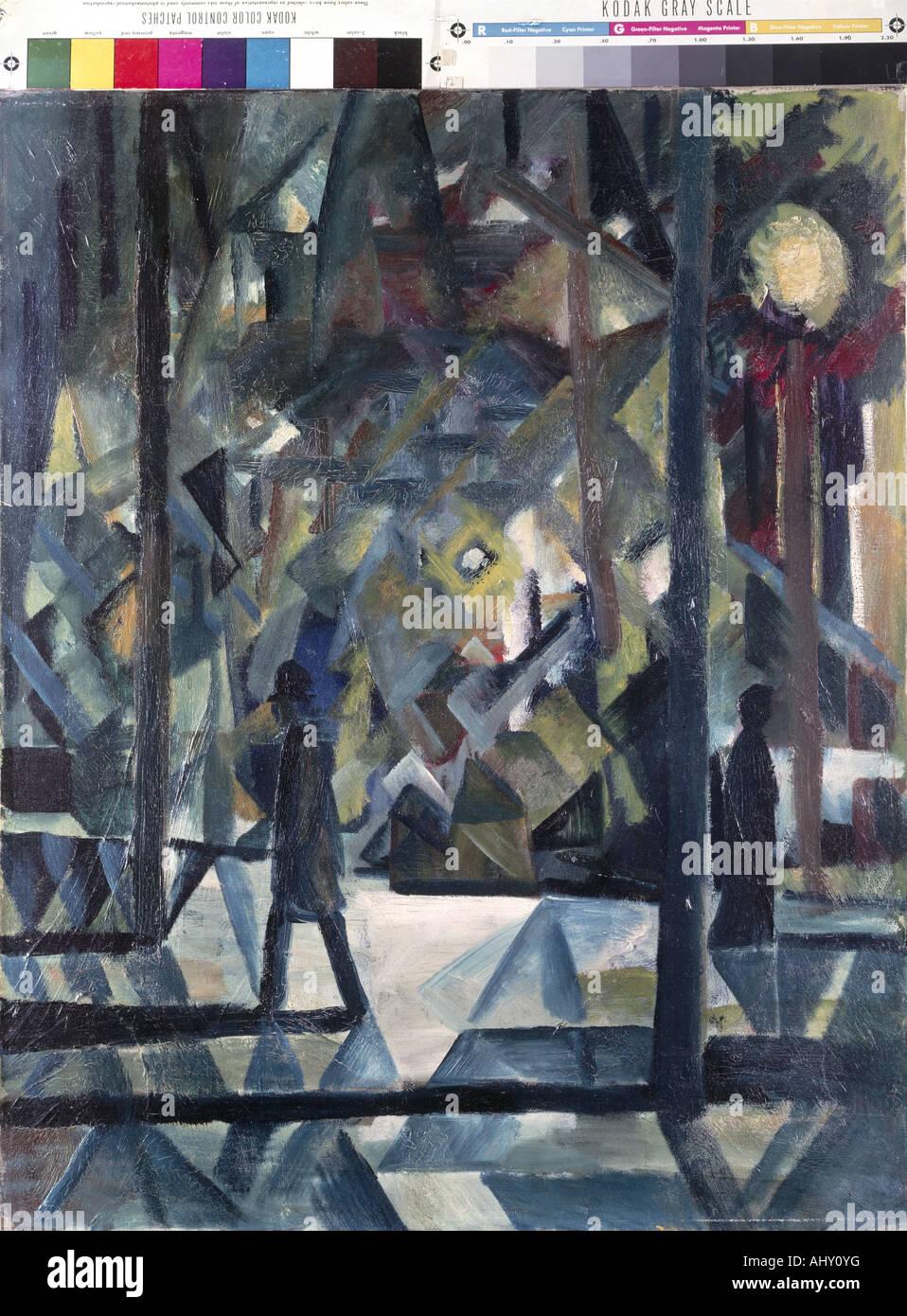 """""""Belle Arti, Macke, Agosto (1887 - 1914), pittura, """"ABENDE"""", (""""sera""""), la proprietà Immagini Stock"""