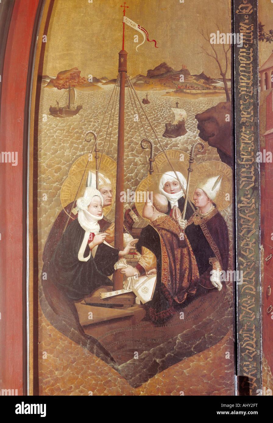 Belle arti, Moser, Lucas (um 1390 - 1434), pittura, mare giro dei santi, 1431, l'altare di Santa Maddalena, Immagini Stock