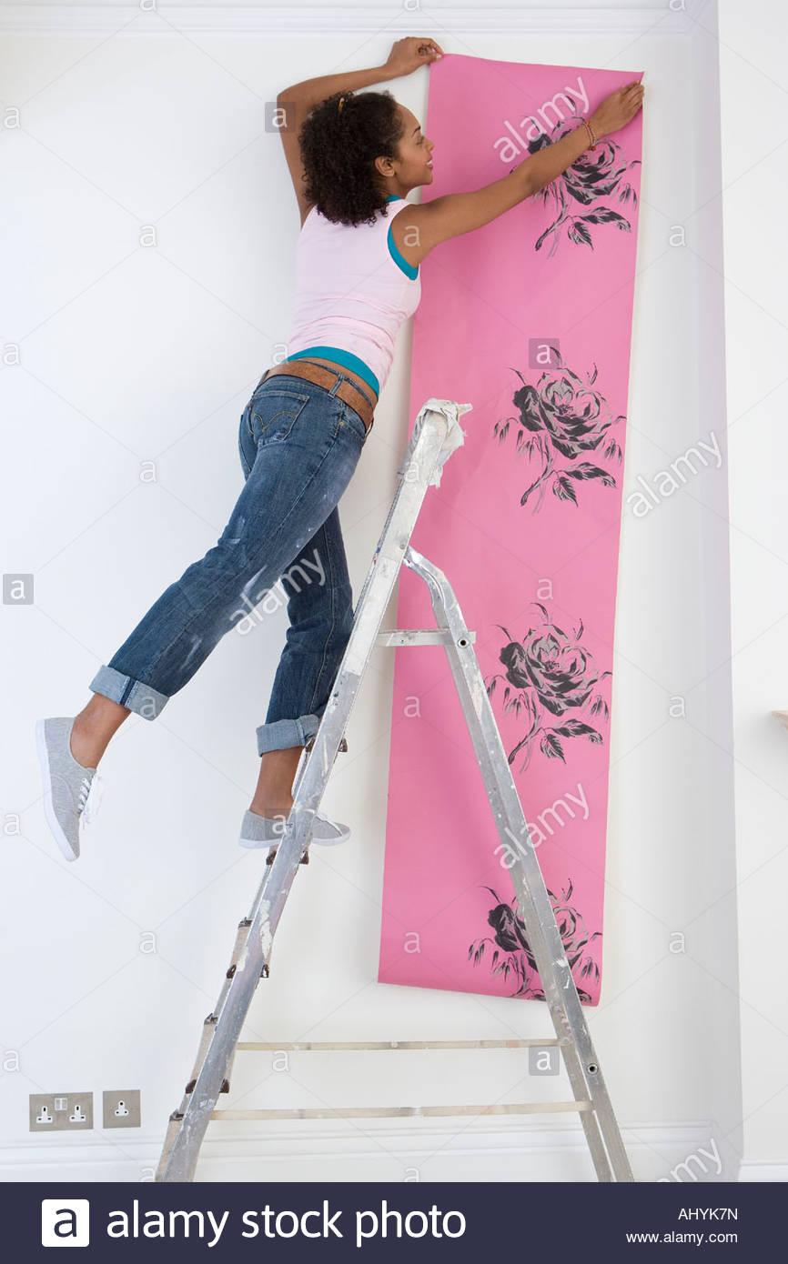 Donna hanging wallpaper dalla scaletta, Immagini Stock