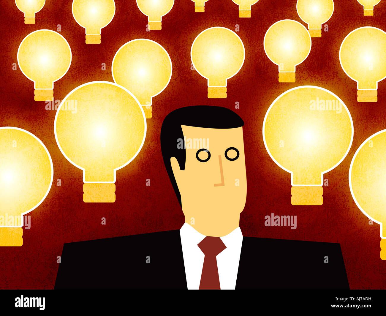 Uomo d'affari con le idee - L'uomo con la lampadina spia Immagini Stock