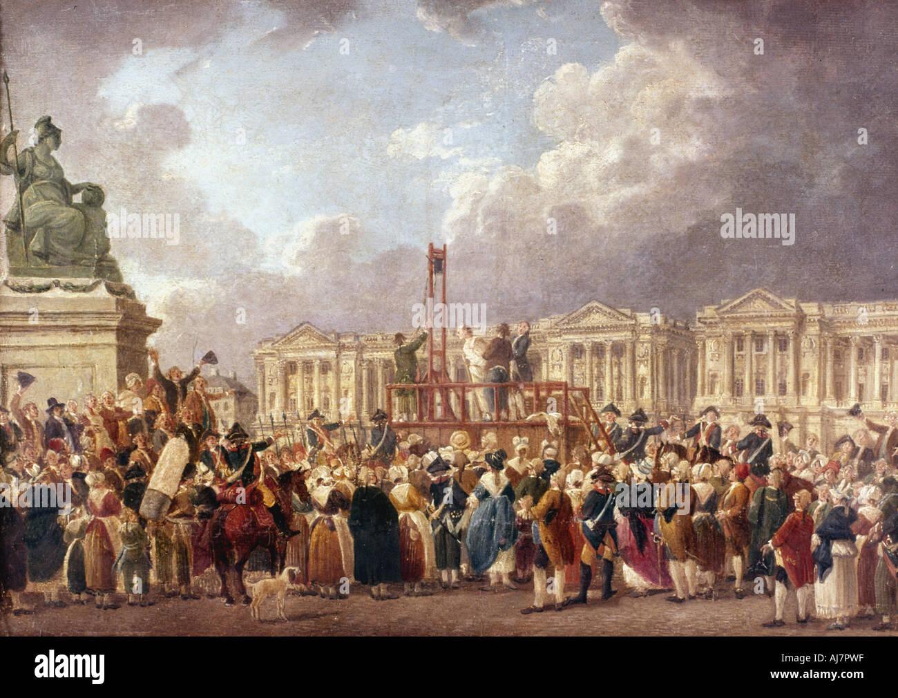 Esecuzione mediante ghigliottina a Parigi durante la Rivoluzione Francese, 1790s (1793-1807). Artista: Pierre Antoine de Machy Immagini Stock