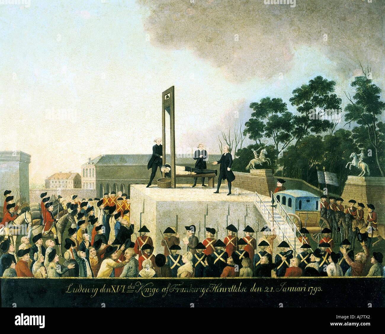 Esecuzione mediante la ghigliottina di Luigi XVI di Francia, Parigi, 21 gennaio 1793 (1790s). Artista: Anon Immagini Stock