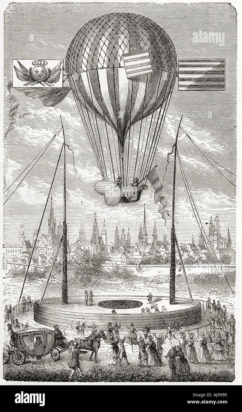 Primo volo con un Pallone dirigibile da Dijon Louis Bernard Guyton de Morveau Immagini Stock