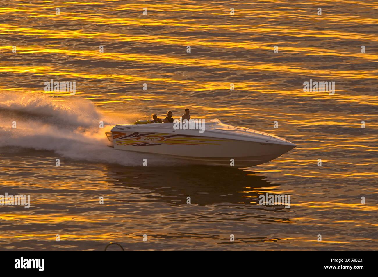 Lusso veloce motore entrobordo barca Cigarette style, barca powerboat, velocità su acqua vicino al tramonto, Immagini Stock