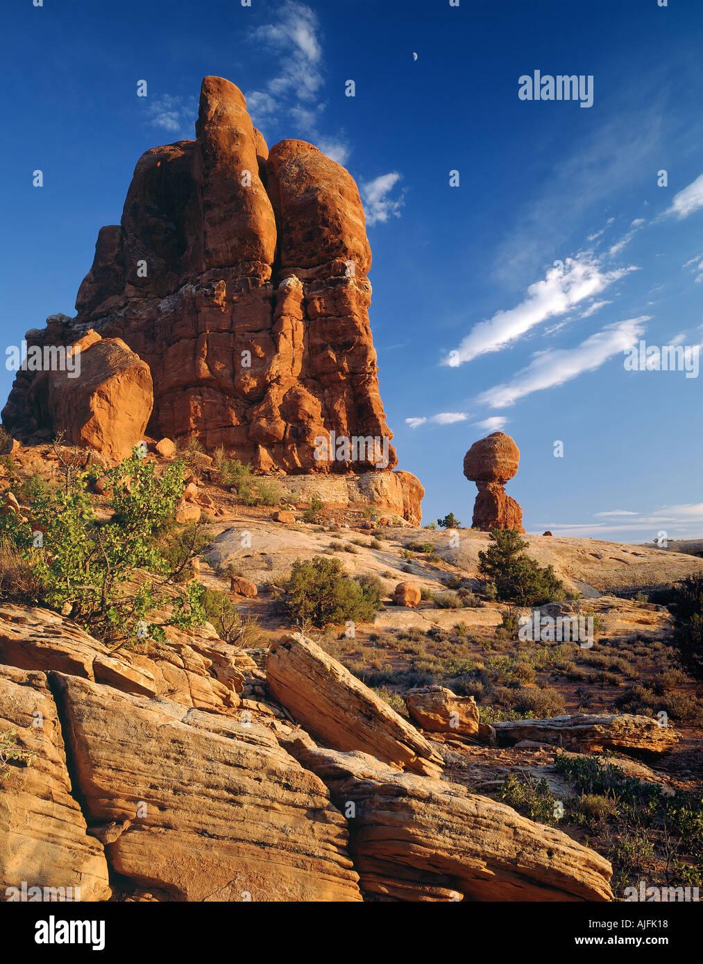 Equilibrato archi di roccia Monumento Nazionale Utah Immagini Stock