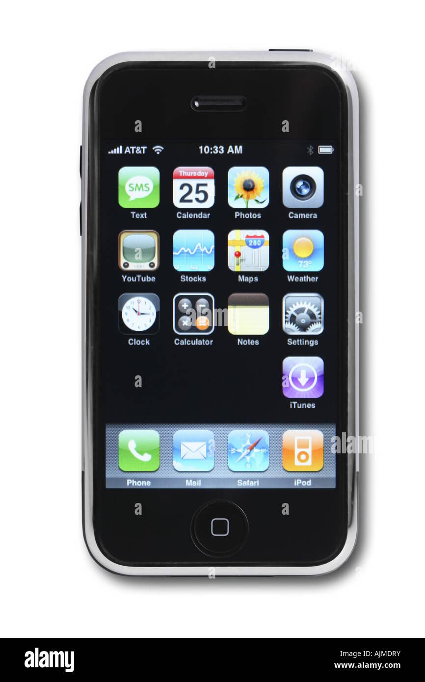 Apple iphone ritagliata su sfondo bianco Immagini Stock