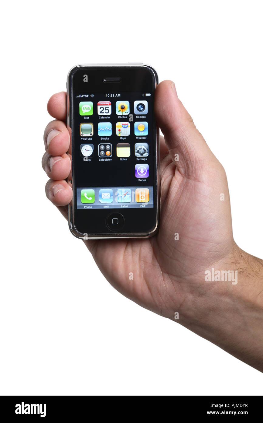 Mano che tiene un Apple iphone ritagliata su sfondo bianco Immagini Stock