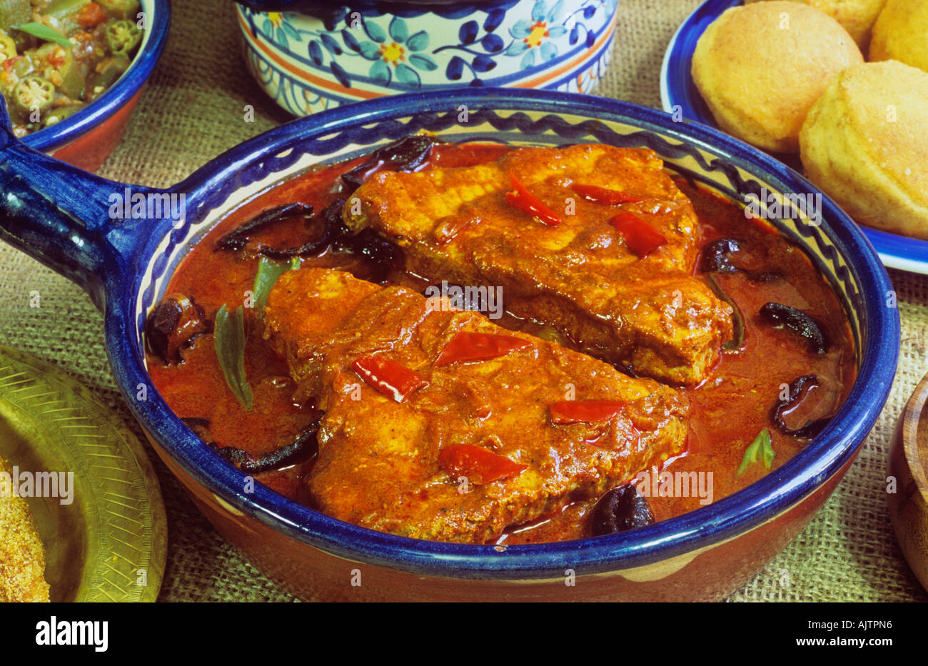 India cibo Pesce al Curry e riso Ambot Tik curry Goa Foto Stock
