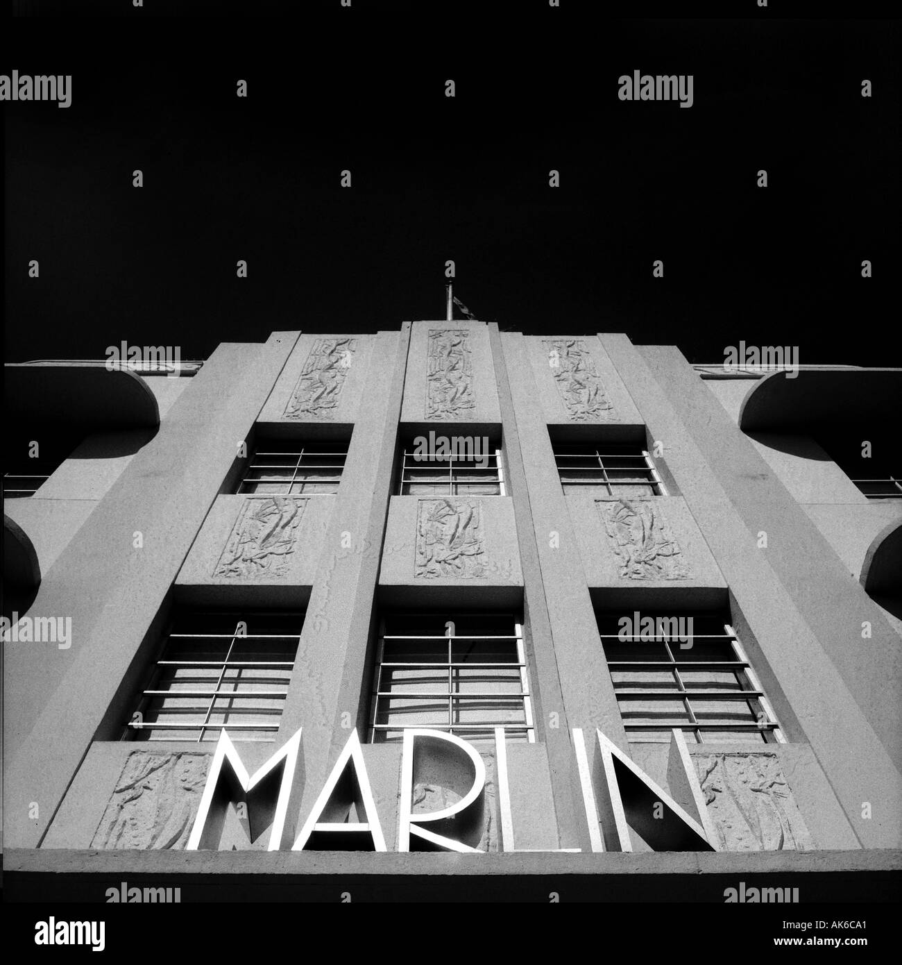La facciata della Marlin hotel in Miami s South Beach Art Deco District Foto Stock