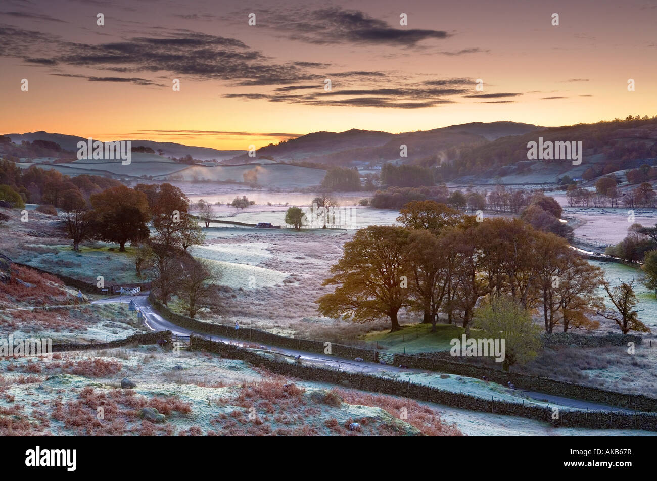 Frosty mattina, Little Langdale, Lake District, Cumbria, Inghilterra Immagini Stock