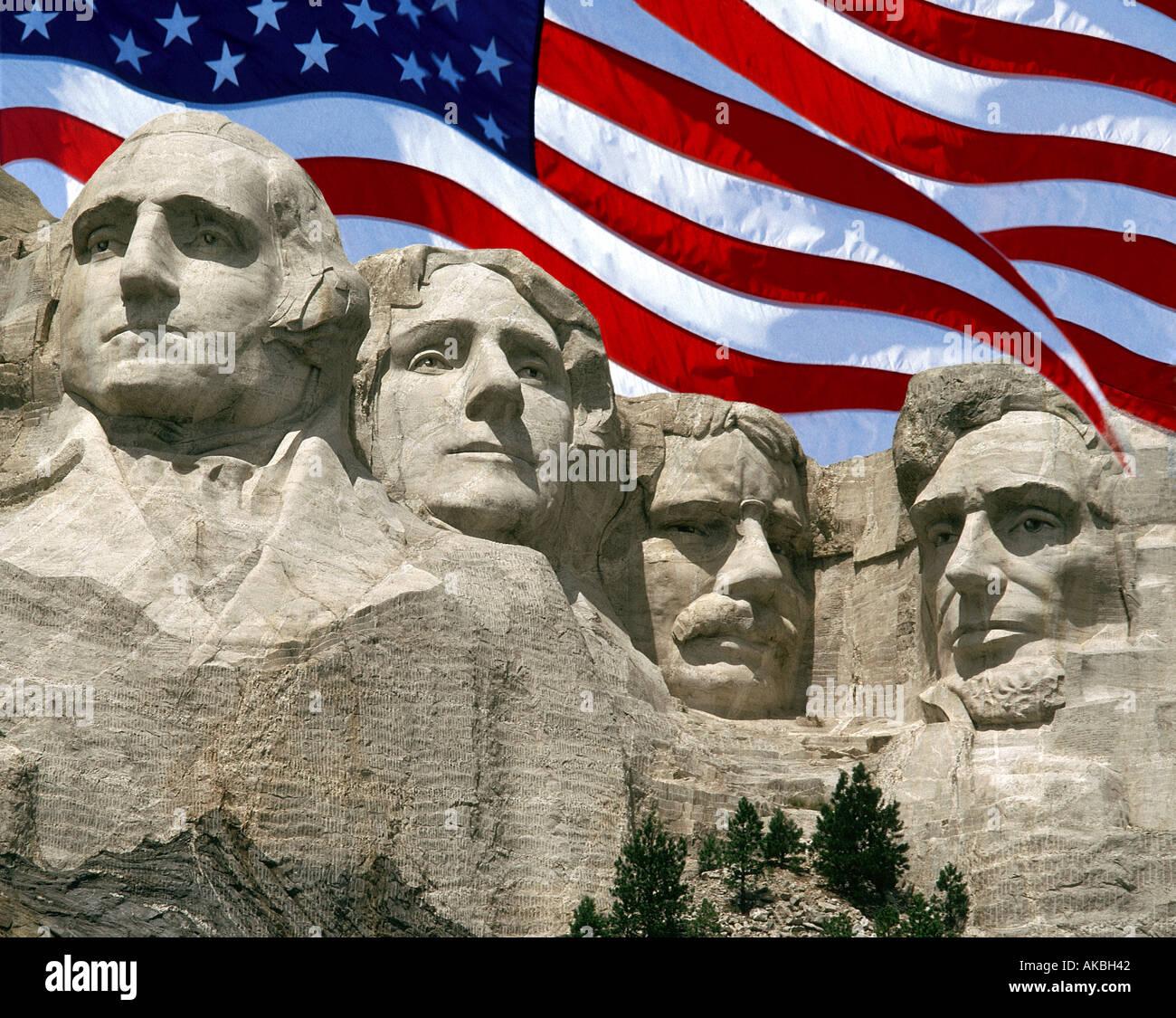 Stati Uniti d'America - Dakota del Sud: Mount Rushmore monumento nazionale Immagini Stock