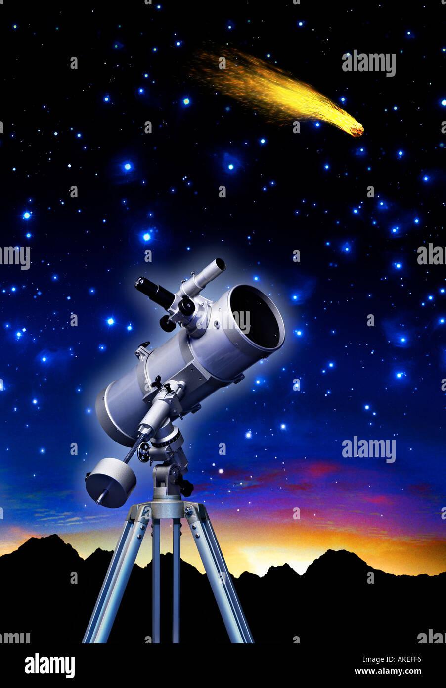 Telescopio e stelle con stella cometa simbolo dell'osservazione dello spazio di ricerca e scienza astronomia Immagini Stock