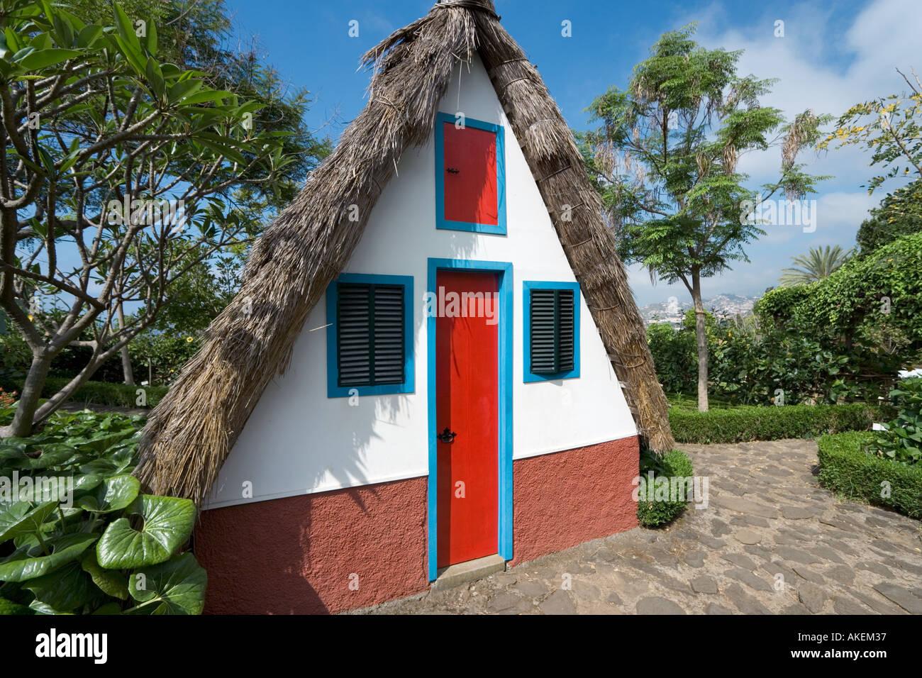 Lo stile di Santana House, Giardini Botanici, Funchal, Madeira, Portogallo Immagini Stock