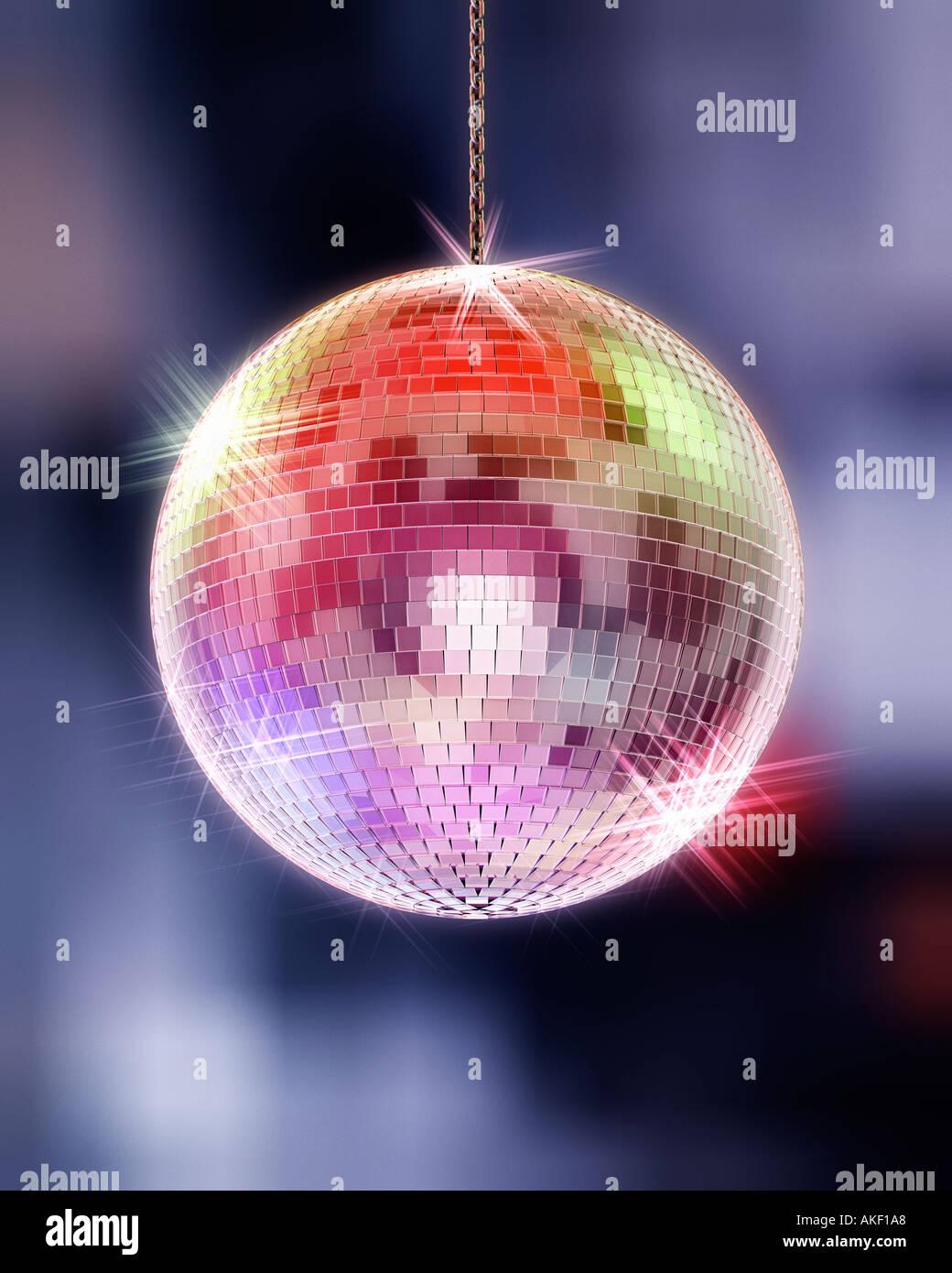 Discoball simbolo della discoteca party club di intrattenimento la brillantezza di luce notte vita notturna Immagini Stock