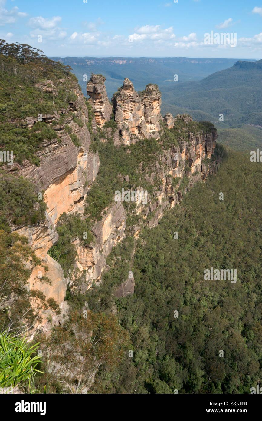 Le tre sorelle dal punto di eco, Blue Mountains, Nuovo Galles del Sud, Australia Immagini Stock
