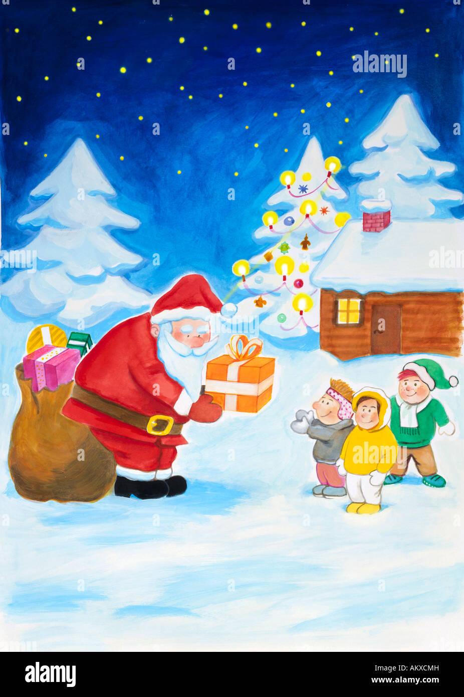 Santa Claus mani doni per i bambini, illustrazione Immagini Stock
