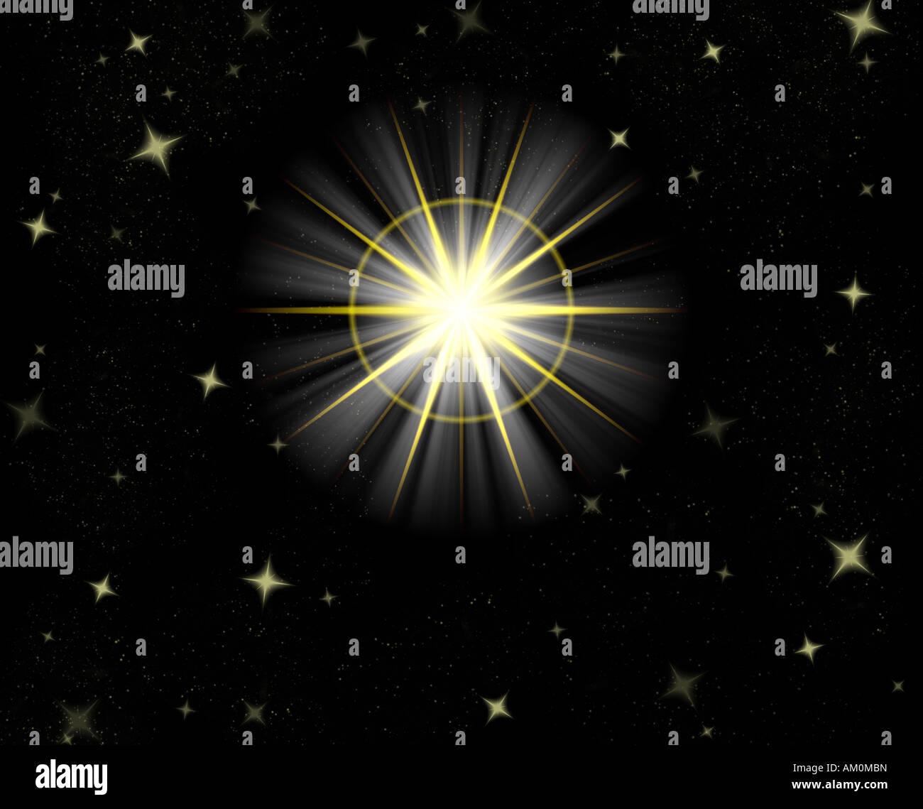 Grande grande stella flare o splendente stella di Natale Immagini Stock