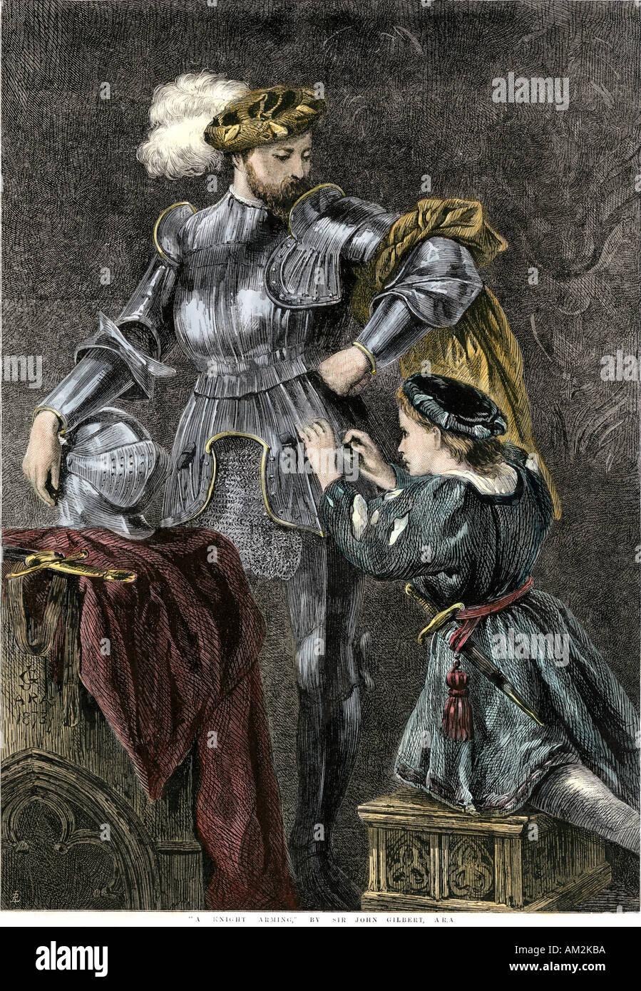 Essendo cavaliere vestito di armatura. Colorate a mano la xilografia di John Gilbert pittura Immagini Stock