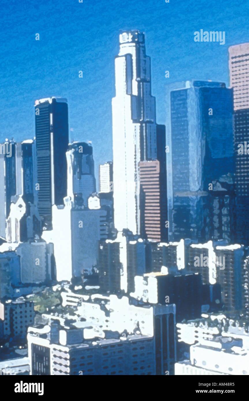 Foto Impressionismo Los Angeles skyline dal Municipio di Los Angeles in California Immagini Stock