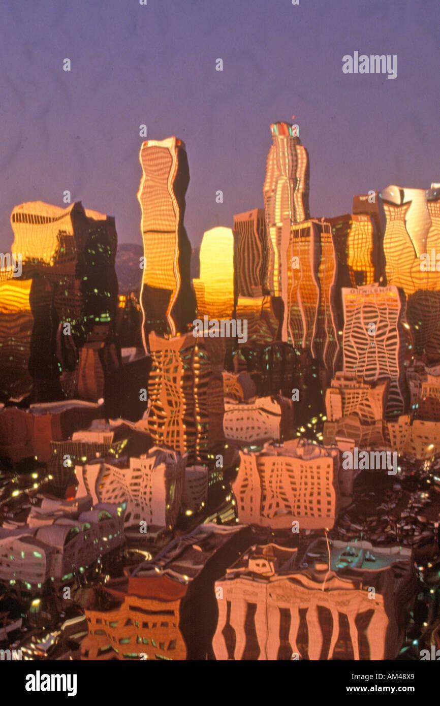 Foto Impressionismo di Los Angeles al tramonto a Los Angeles California Immagini Stock