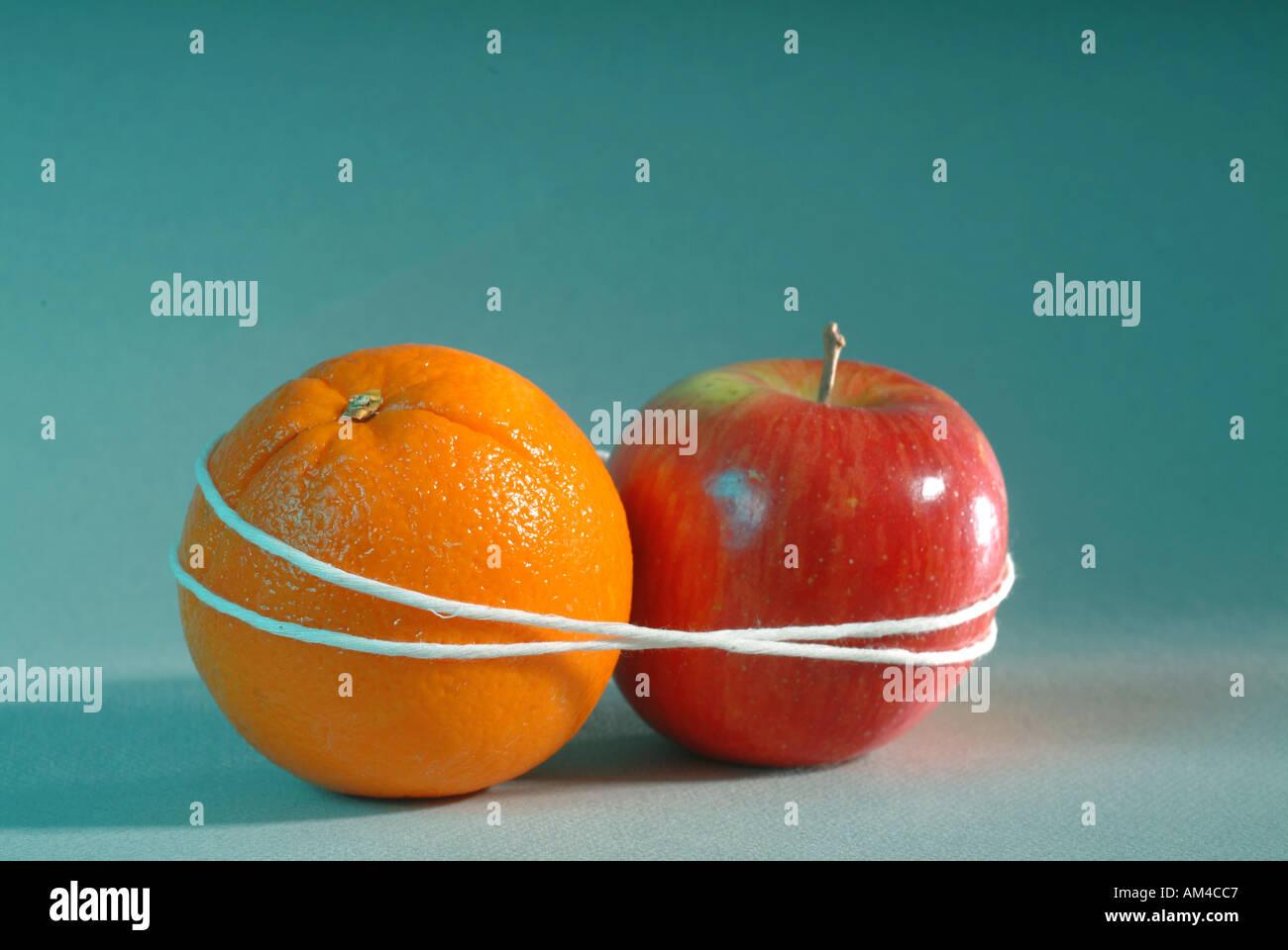 Apple e Orange legati insieme dimostrando opposti Immagini Stock