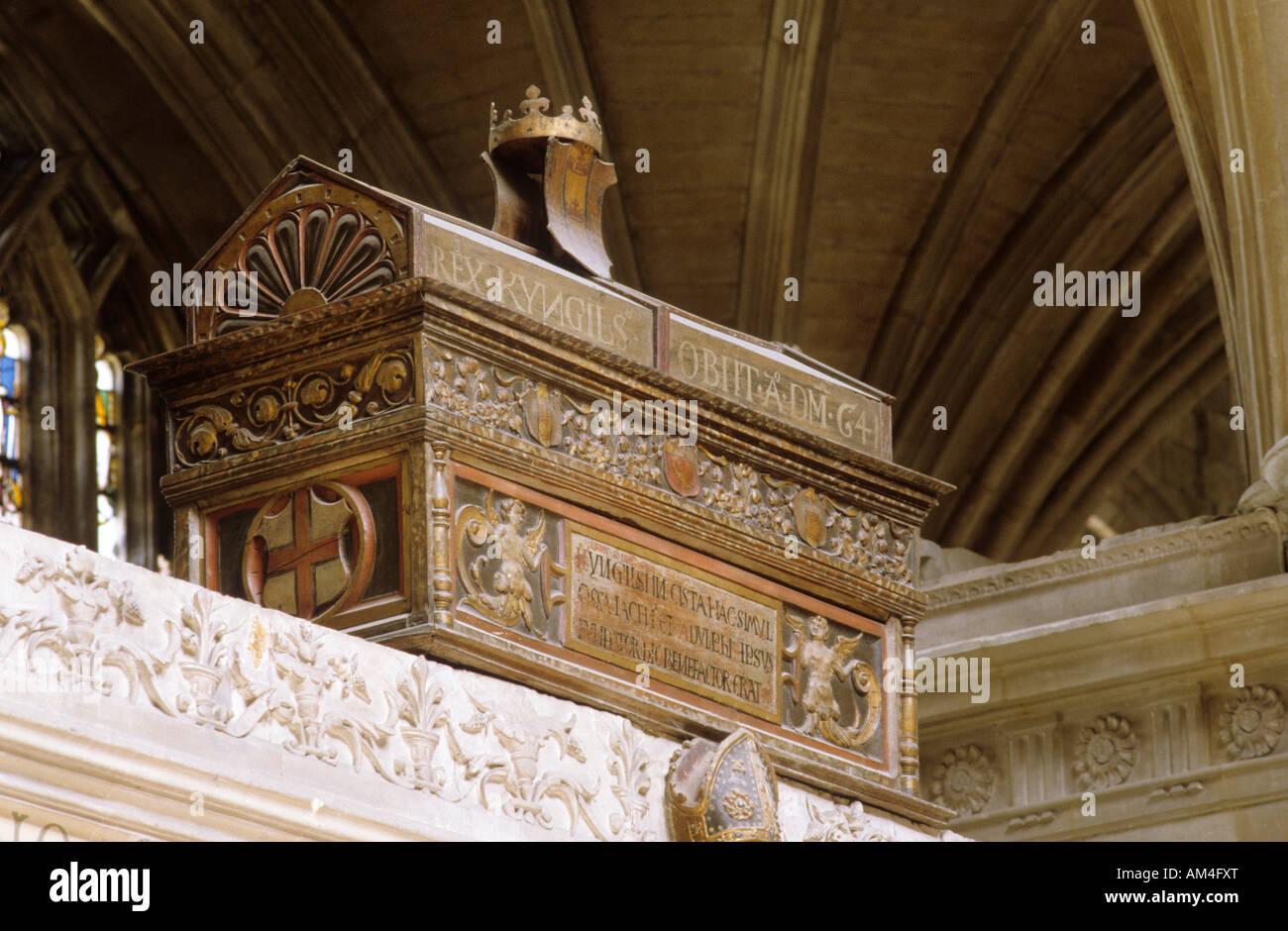 Tomba sassone AD 641 la Cattedrale di Winchester Hampshire Immagini Stock