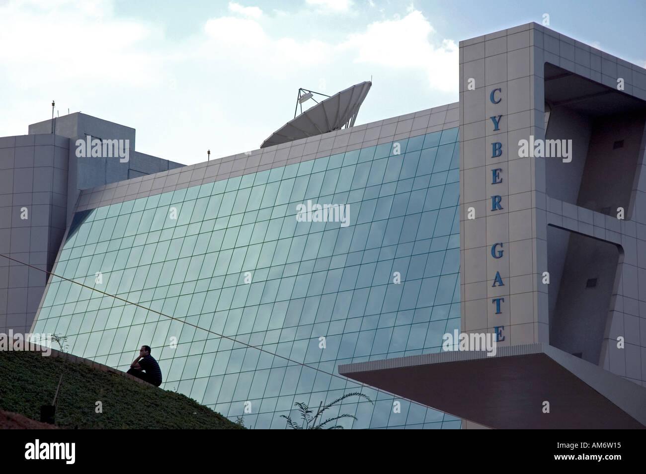 Il Cyber edificio Gateway in Hyderabad's Cyberabad, India. Questo edificio è stato dedicato alla nascente esso industria del software. Immagini Stock