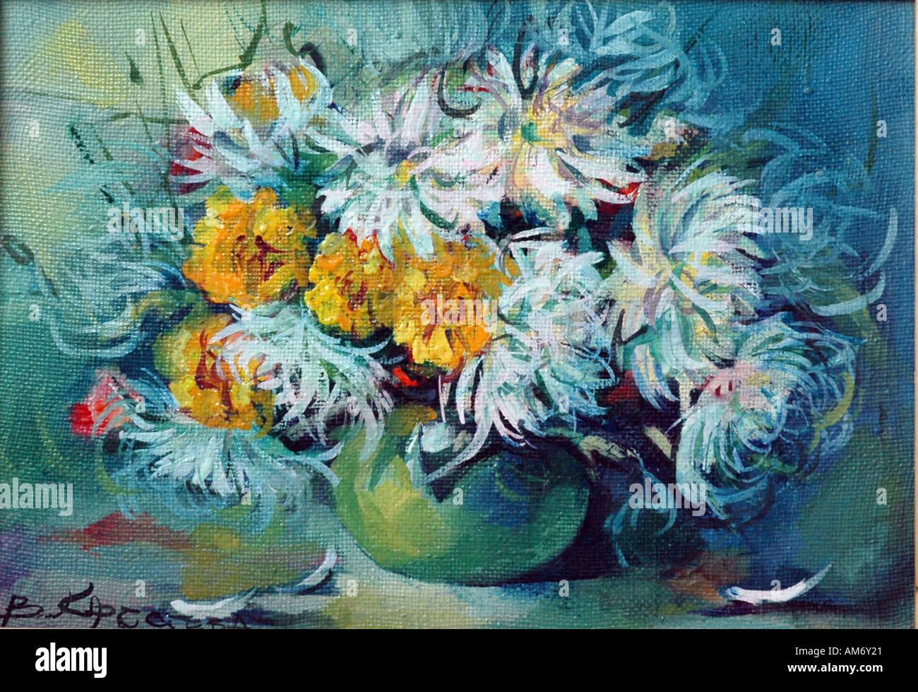 Fiori pittura a olio Immagini Stock