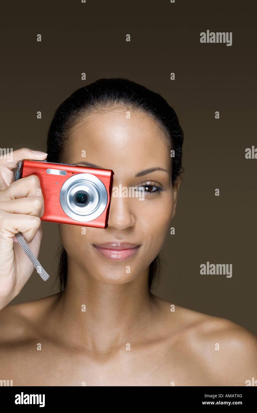Una donna di prendere una fotografia Immagini Stock