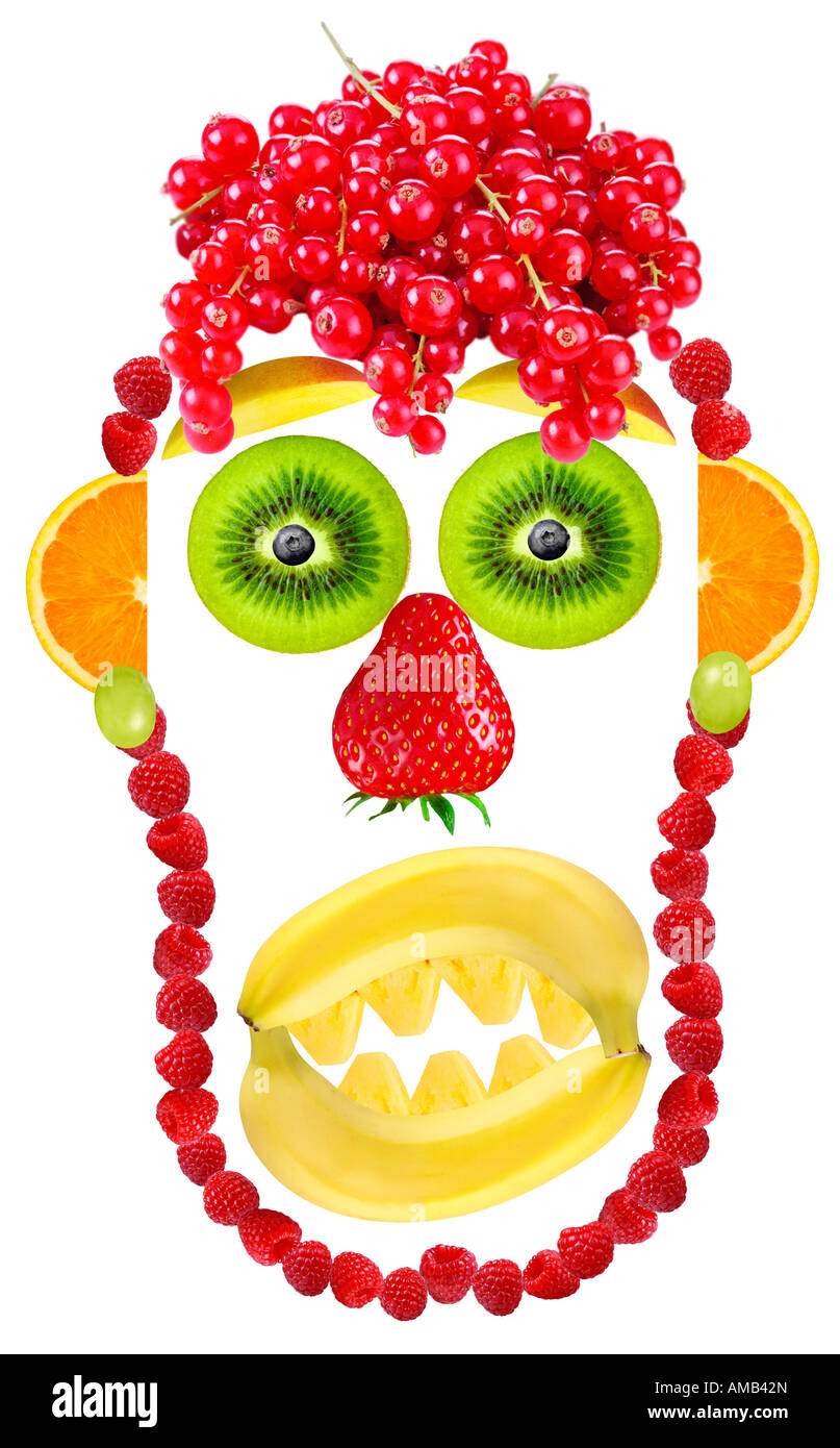 Fruttato faccia su bianco Immagini Stock