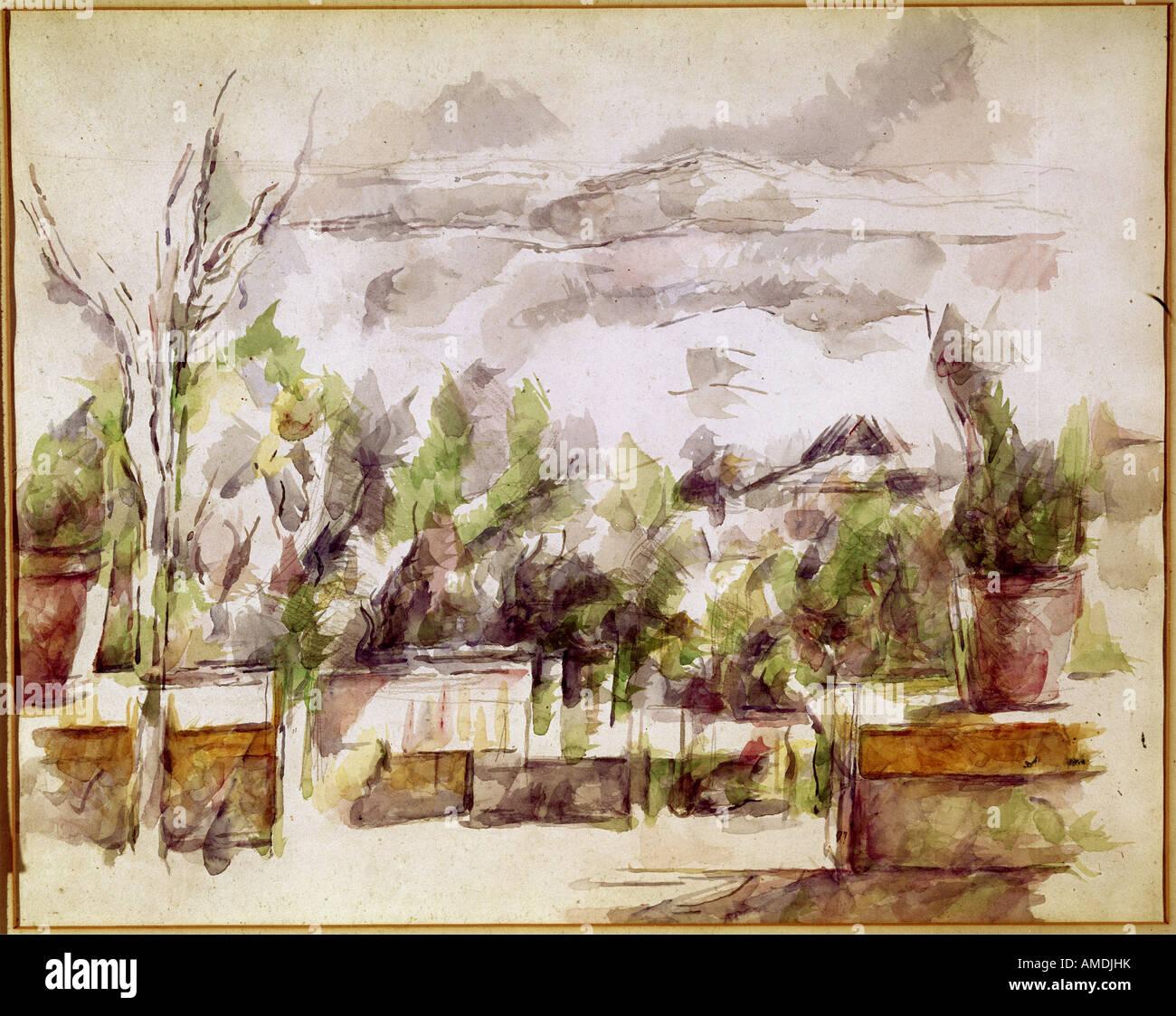 Belle arti, Cezanne, Paolo (1839 - 1906), pittura, paesaggio, acquarello e matita, il Kunsthaus Zürich, Francese, Foto Stock