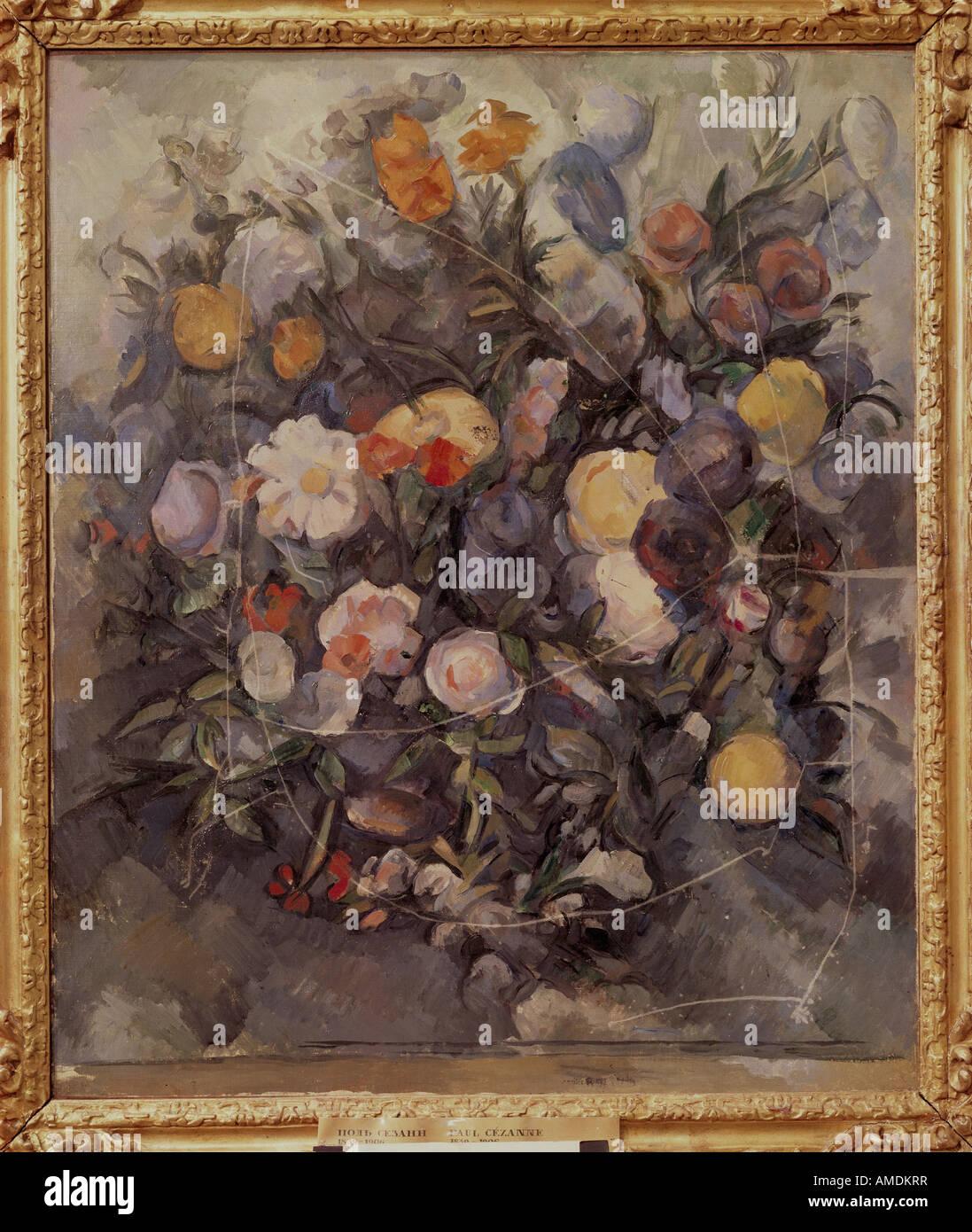 """""""Belle Arti, Cezanne, Paolo (1839 - 1906), pittura, 'fiori' circa 1900, olio su tela, Museo Puskin di Mosca, stillife, Fren Foto Stock"""