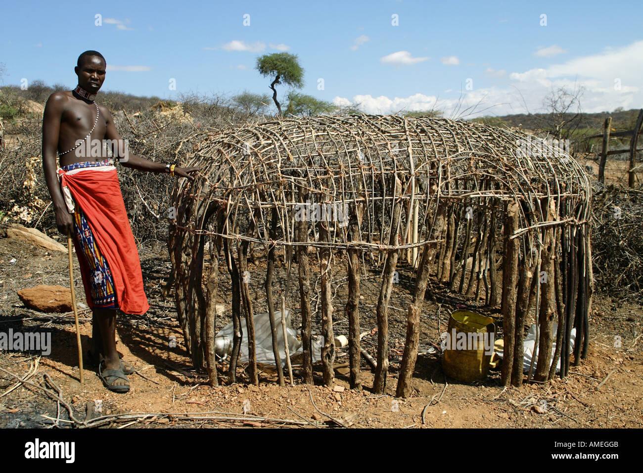 Samburu a semi-finito di capanna, Kenya Immagini Stock