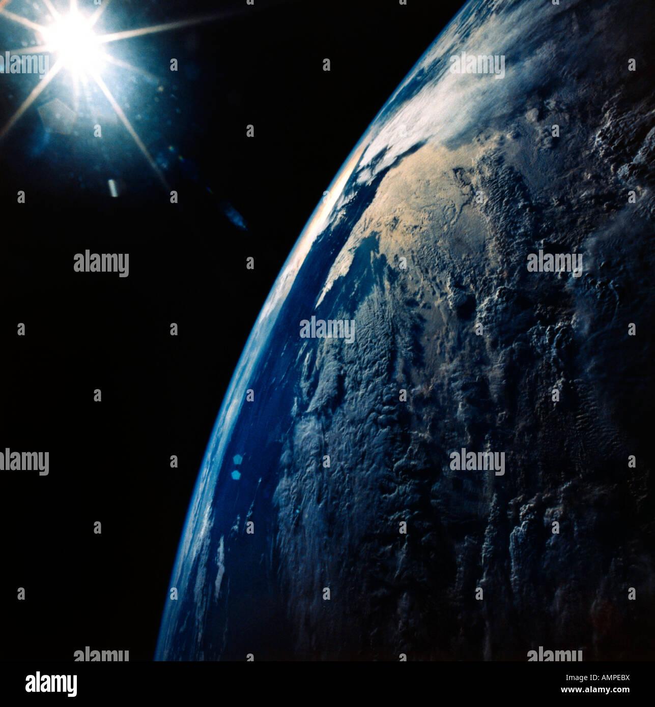 La terra dallo spazio montagne delle Ande tardo pomeriggio Immagini Stock