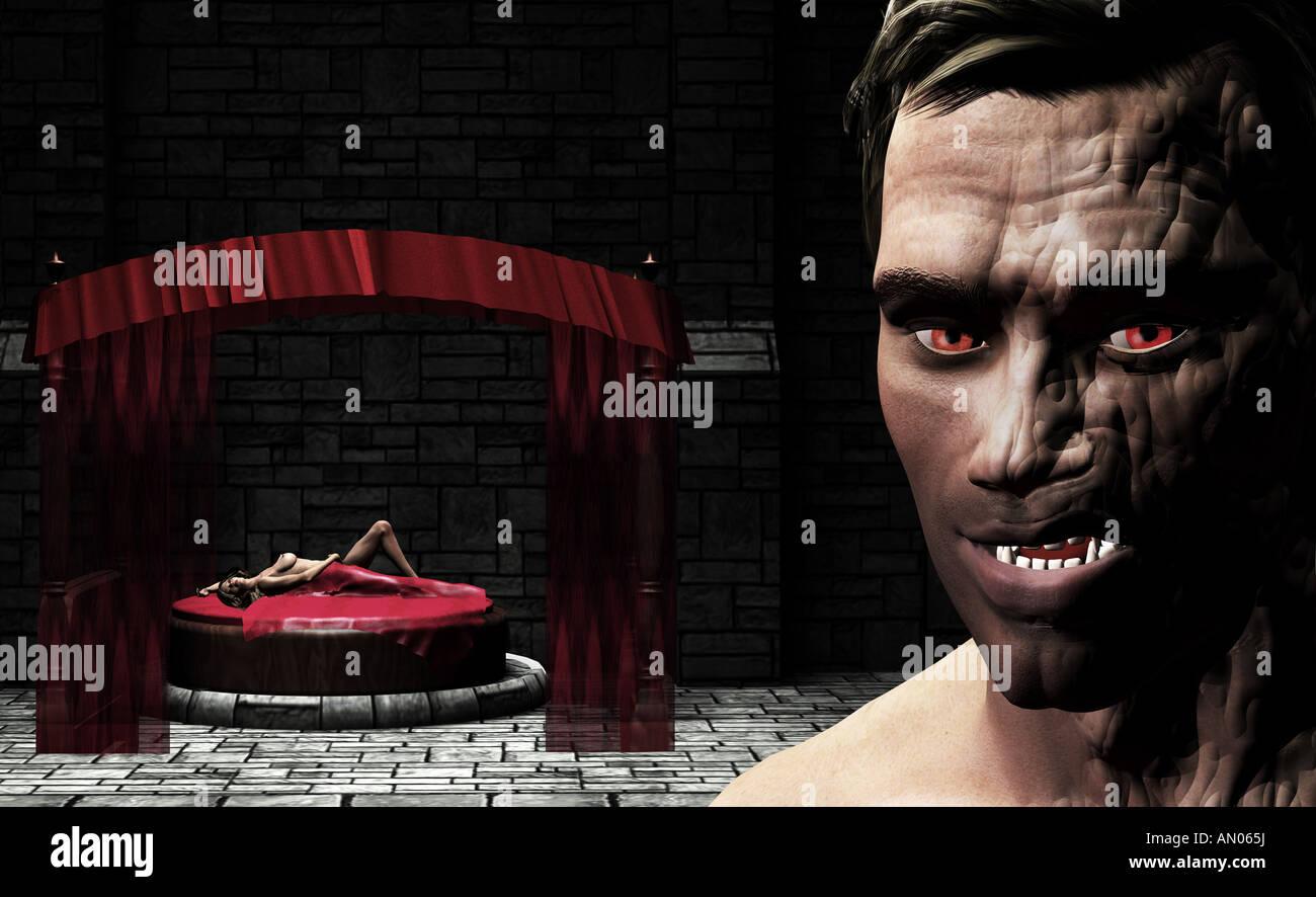 Vampiro e la donna in camera da letto Immagini Stock