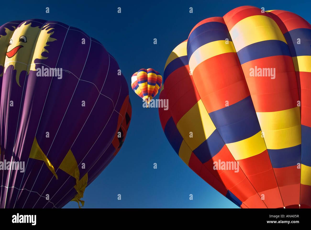 Ascensione di massa a Balloon Fiesta Albuquerque, Nuovo Messico, STATI UNITI D'AMERICA Immagini Stock