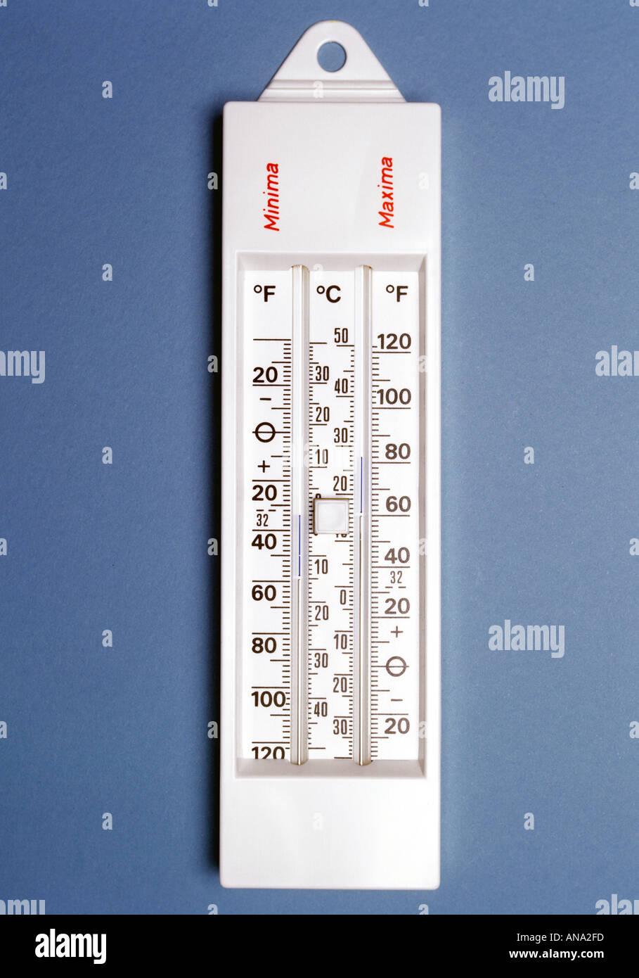 Massimo Minimo termometro Immagini Stock