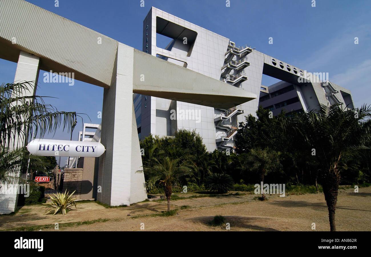 Il Cyber edificio Gateway in Hyderabad's Cyberabad, India. Questo edificio è stato dedicato alla nascente Immagini Stock