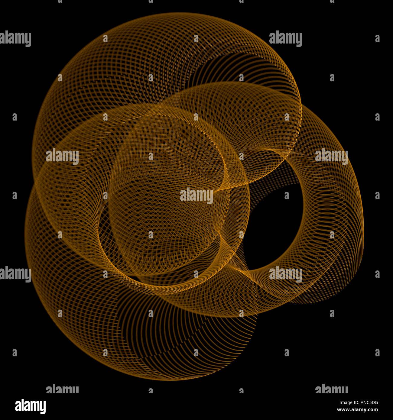 Abstract frattale che assomiglia a un twisted slinky giocattolo mesh Immagini Stock