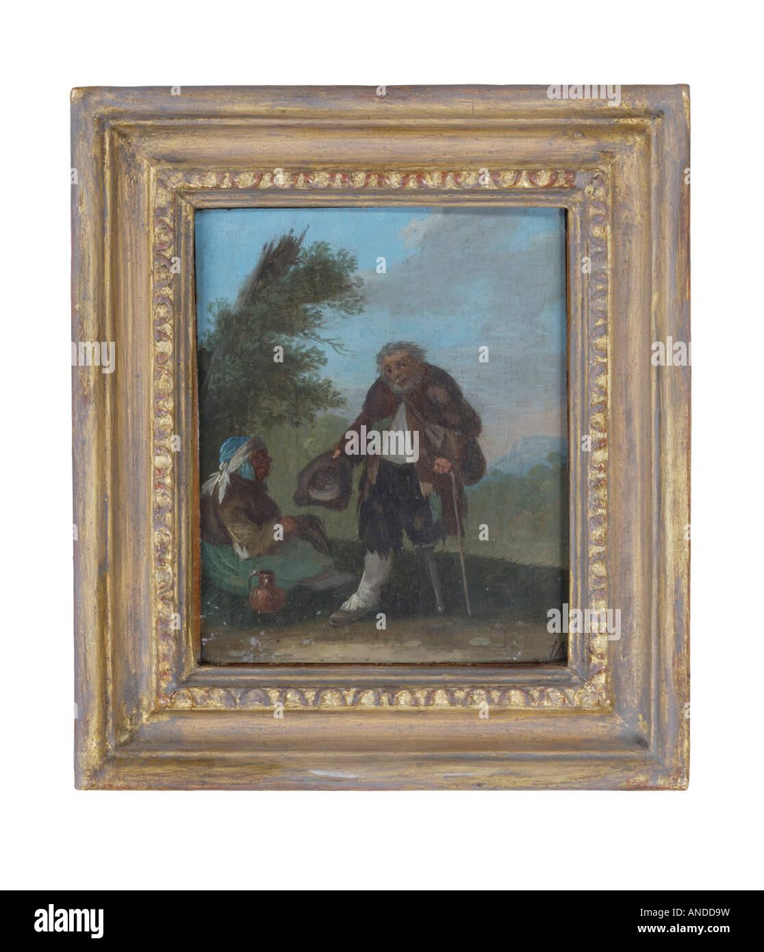 Dipinto ad Olio di due poveri anziani uno con una gamba di legno Immagini Stock