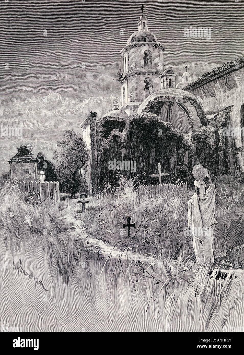 Cimitero e la missione di San Luis Rey de Francia California Immagini Stock
