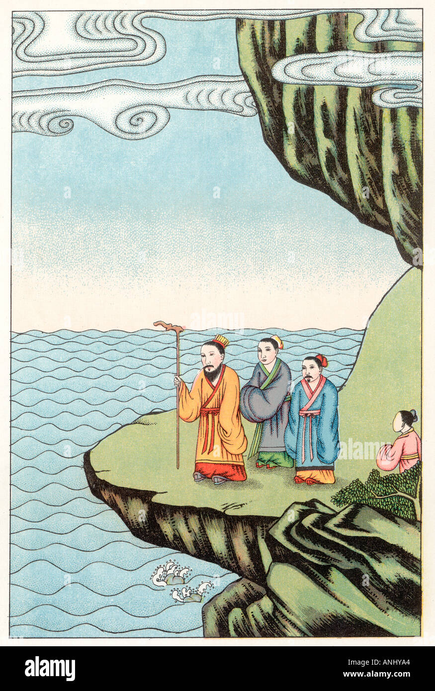 Confucio medita Immagini Stock