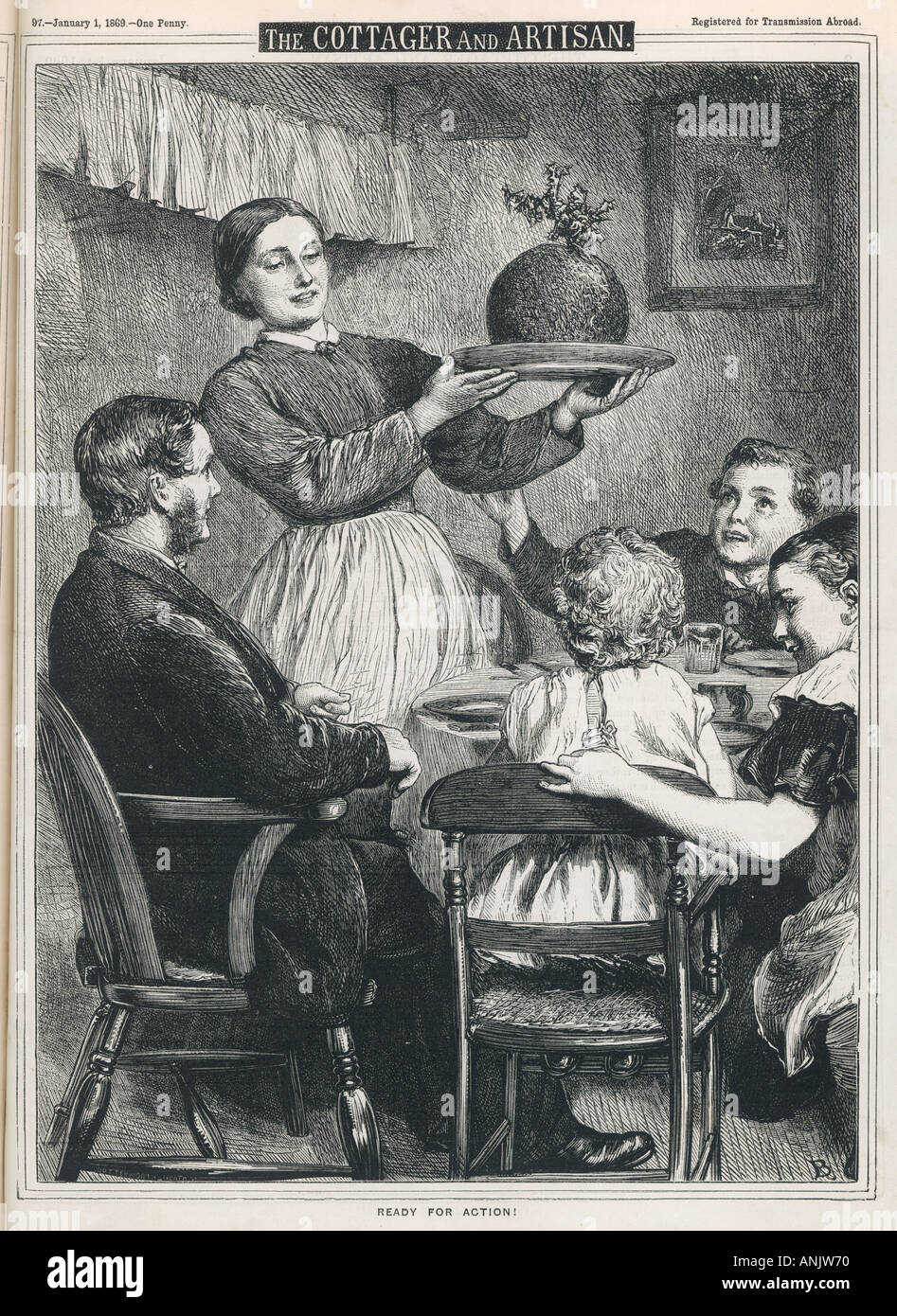 Madre porta In Pudding Immagini Stock