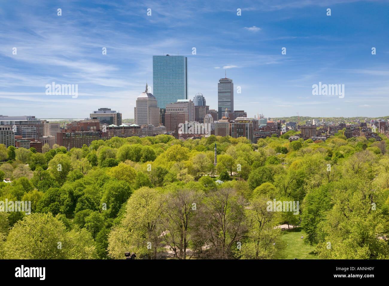 Stati Uniti Massachusetts Boston elavated vista su Boston Common per la città Immagini Stock