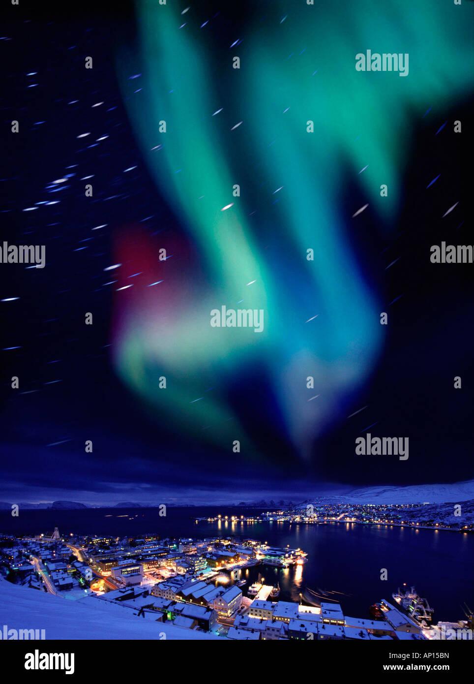 Aurora boreale vicino a Hammerfest, Norvegia settentrionale, Norvegia Immagini Stock