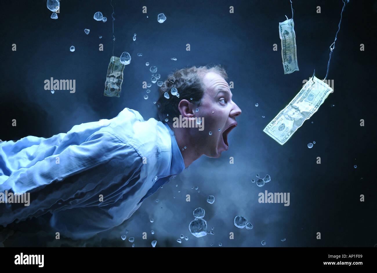 """'Business umorismo' concetto uomo nuoto sott'acqua dopo il denaro sul gancio di pesca. Offerte a ventosa. """"Ad alto interesse di credito"""". Immagini Stock"""