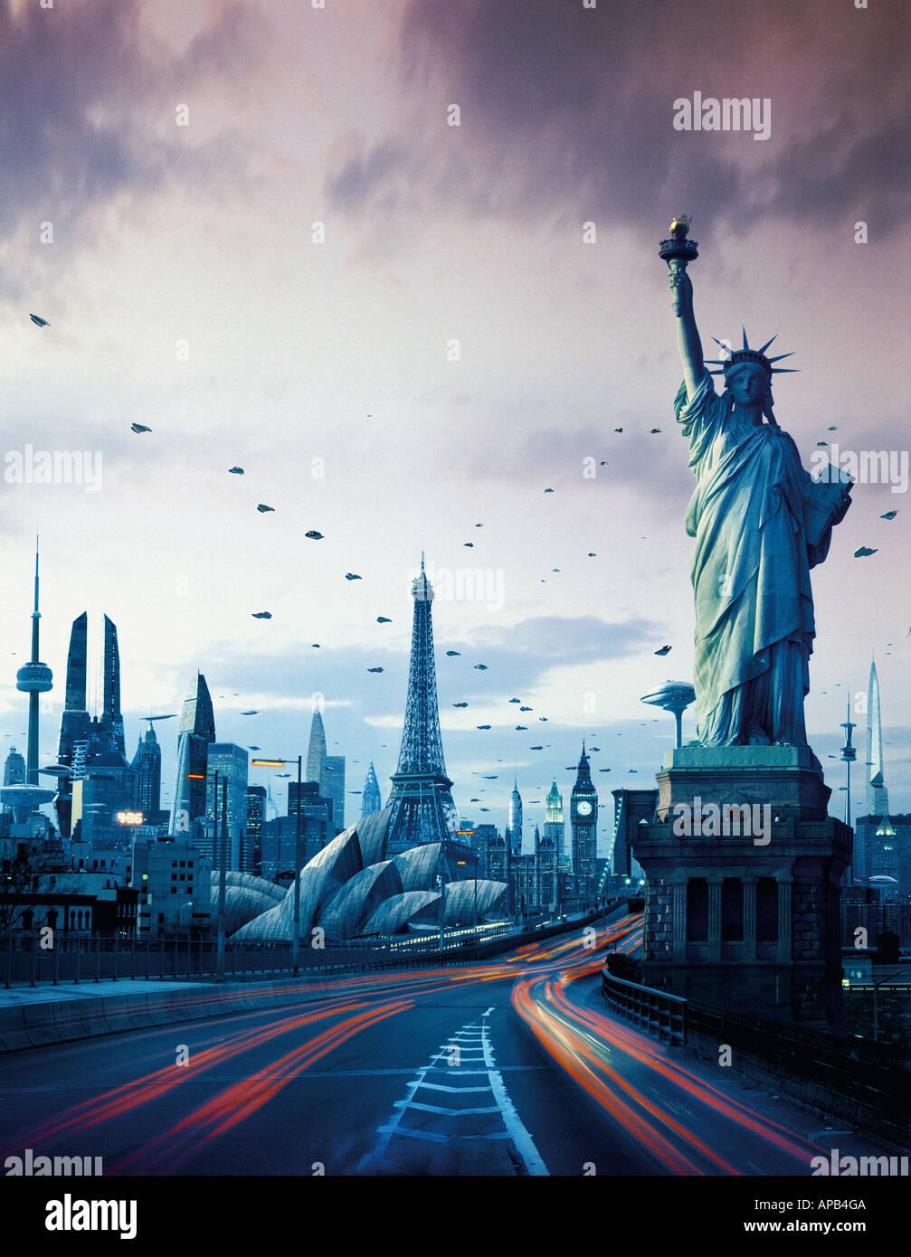 Una città futuristica con la Statua della Libertà, la Torre Eiffel e il Big Ben, la Sydney Opera House e la CN Tower Immagini Stock