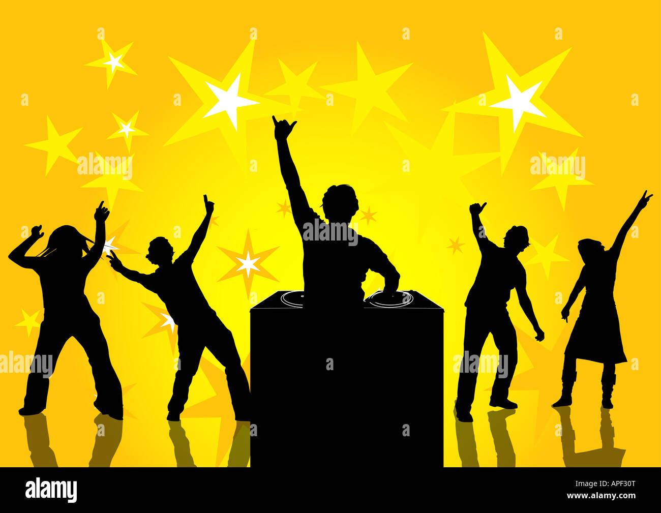 Felice la gente ballare ad una festa Immagini Stock